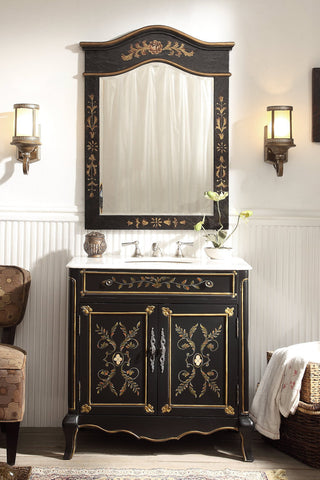 "32"" Hand Painted Floral Design Decoroso Bathroom Sink Vanity with Mirror  # HF2326-MIR - Chans Furniture - 1"