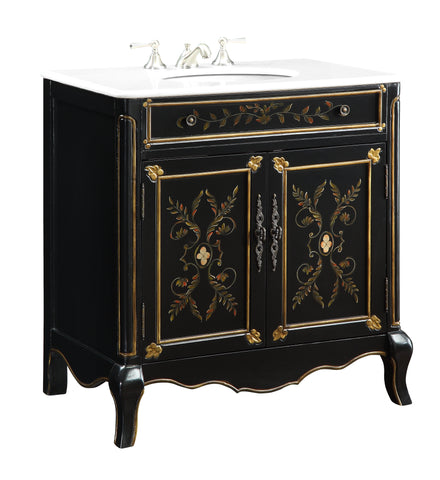 "32"" Bathroom Vanity, Hand-painted Floral Motif Decoroso  - Model # HF2326"