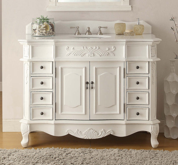 "42"" Antique white Morton Bathroom Sink Vanity & Mirror Set CF-2815W-AW-42-MR-2815 - Chans Furniture - 4"