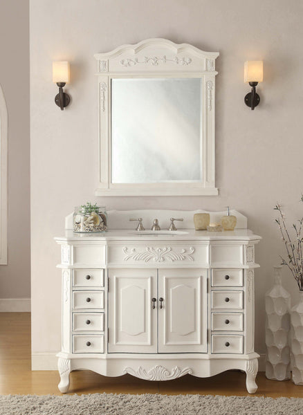 "42"" Antique white Morton Bathroom Sink Vanity & Mirror Set CF-2815W-AW-42-MR-2815 - Chans Furniture - 2"