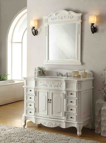 "42"" Antique white Morton Bathroom Sink Vanity & Mirror Set CF-2815W-AW-42-MR-2815 - Chans Furniture - 1"