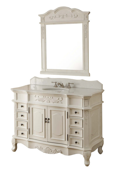 "48"" Antique white Morton Vanity & Mirror Set - HF-2815W-AW-48-MIR-2815 - Chans Furniture - 3"