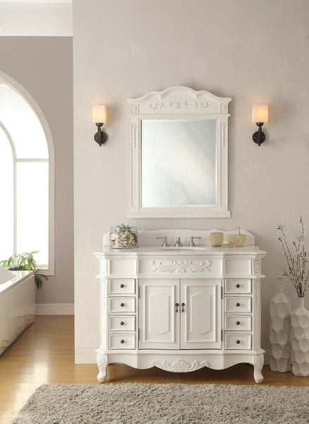"48"" Antique white Morton Vanity & Mirror Set - HF-2815W-AW-48-MIR-2815 - Chans Furniture - 2"