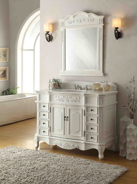 "42"" Antique white Morton Bathroom Sink Vanity & Mirror Set CF-2815W-AW-42-MR-2815 - Chans Furniture - 5"