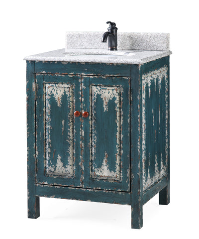 "26"" Veneto Distressed Green Rustic Bathroom Vanity HF-4872"