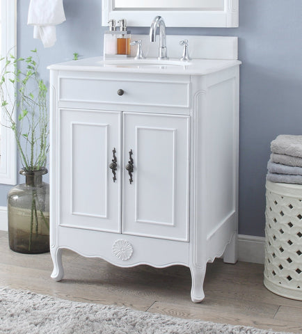 "26"" Benton Collection Daleville Antique White Bathroom Sink Vanity 838AW"