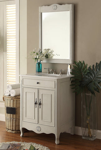 "26"" Cottage Style 2 doors Daleville Bathroom Sink Vanity with Mirror Set  - 838CK-MIR - Chans Furniture - 1"