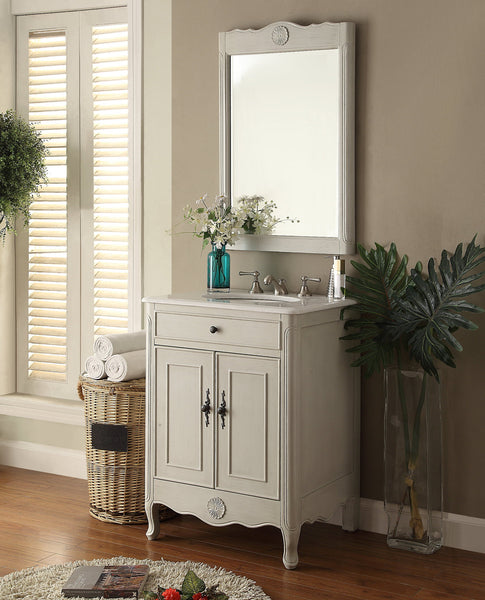 "26"" Cottage Style 2 doors Daleville Bathroom Sink Vanity with Mirror Set  - 838CK-MIR - Chans Furniture - 2"