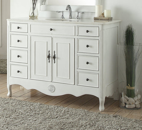 "46.5"" Benton Collection Distressed Antique White Fayetteville Bathroom Sink Vanity HF-8535AW"