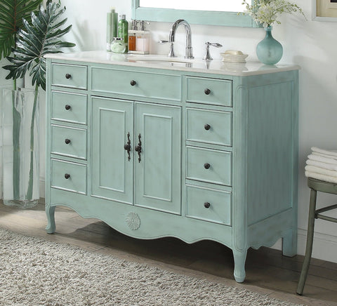 "46.5"" Benton Collection Distressed Light Blue Fayetteville Bathroom Sink Vanity HF-8535BU"
