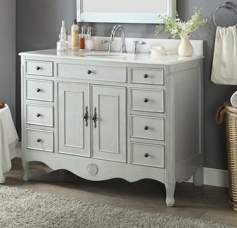 "46.5"" Benton Collection Distressed Grey Fayetteville Bathroom Sink Vanity HF-8535CK"