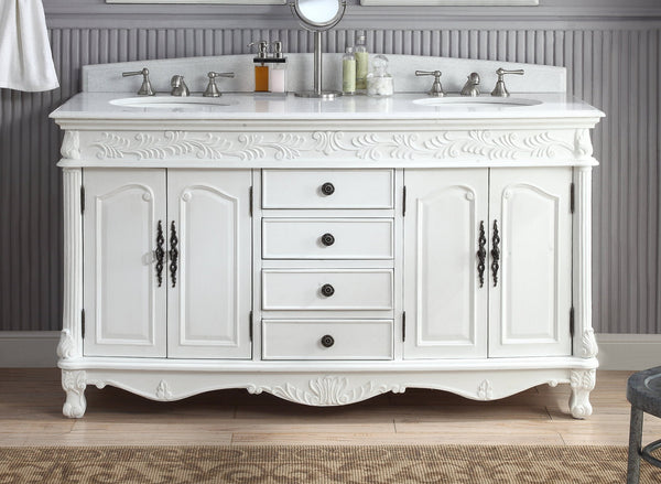 "63""  Antique White Classic Double Sink Florence Bathroom Sink Vanity model #  HF-036XLW-AW - Chans Furniture - 2"