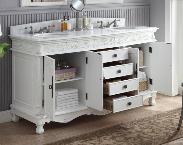 "63""  Antique White Classic Double Sink Florence Bathroom Sink Vanity model #  HF-036XLW-AW - Chans Furniture - 4"