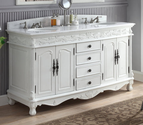 "63""  Antique White Classic Double Sink Florence Bathroom Sink Vanity model #  HF-036XLW-AW - Chans Furniture - 1"
