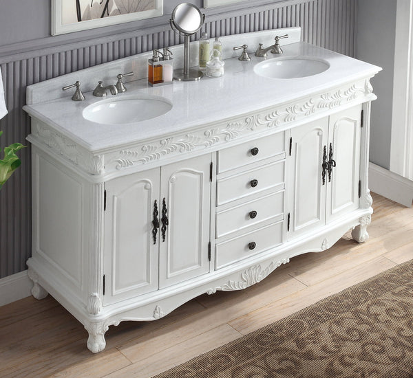 "63""  Antique White Classic Double Sink Florence Bathroom Sink Vanity model #  HF-036XLW-AW - Chans Furniture - 3"