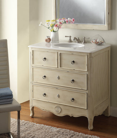 Daleville 34-inch Vanity & Mirror HF081W-P - Chans Furniture - 2
