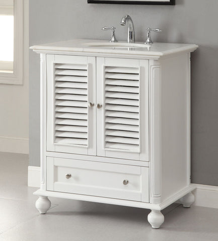 "30""  Shutter Blinds Keysville Bathroom Sink Vanity   GD-1087W (white) - Chans Furniture - 1"