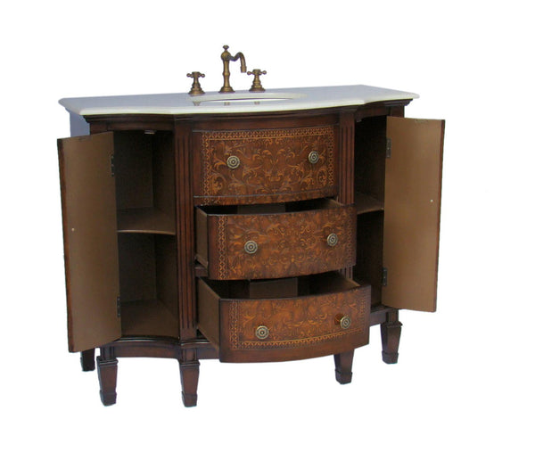 "42""  Detail Oriented Algaringo Bathroom Sink Vanity Model # HF1214 - Chans Furniture - 2"