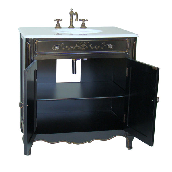 "32"" Hand Painted Floral Design Decoroso Bathroom Sink Vanity with Mirror  # HF2326-MIR - Chans Furniture - 4"