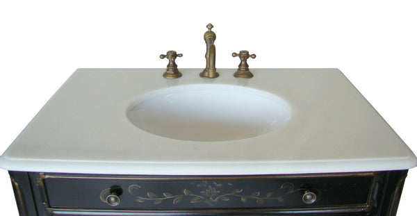 "32"" Hand Painted Floral Design Decoroso Bathroom Sink Vanity with Mirror  # HF2326-MIR - Chans Furniture - 5"
