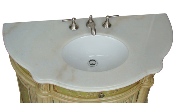 "41"" Hand Paint Floral Design Greenville Bathroom Sink Vanity HF2809W"