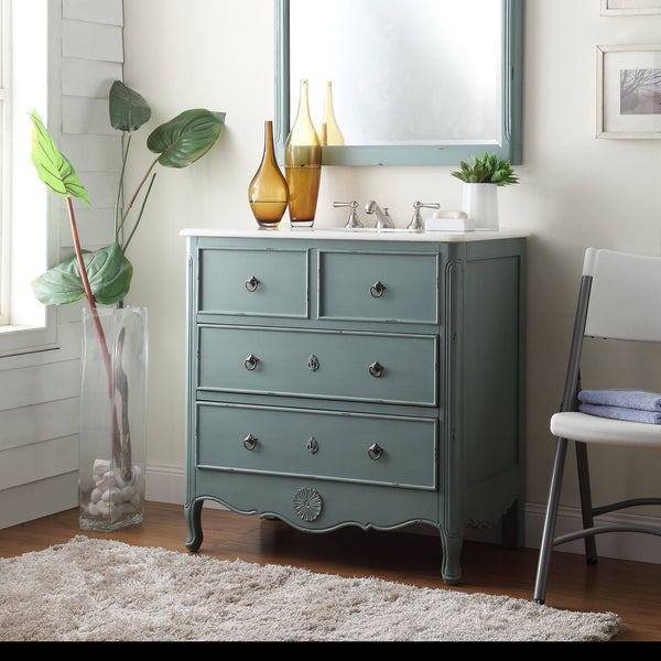 "34"" Distress Vantage Blue Daleville Bathroom Sink Vanity & Mirror Set HF-081Y-MR-832Y - Chans Furniture - 3"