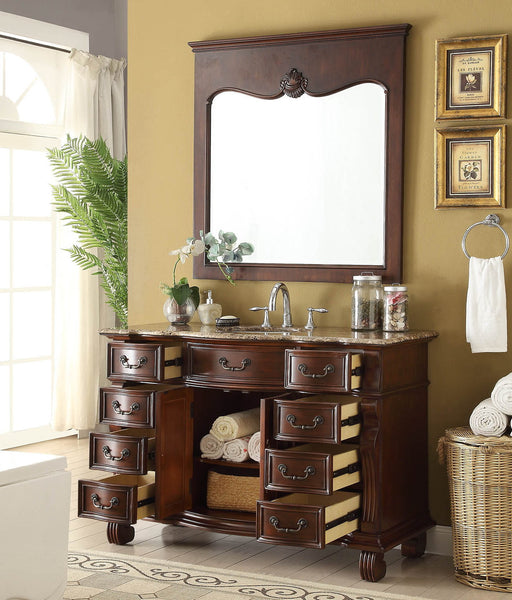 "50"" Traditional Classic Hopkinton Bathroom Sink Vanity w/matching miror  GD-4437BN-50MIR - Chans Furniture - 2"