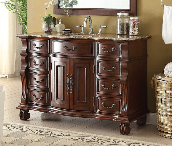 "50"" Traditional Classic Hopkinton Bathroom Sink Vanity w/matching miror  GD-4437BN-50MIR - Chans Furniture - 3"