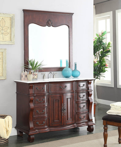"50"" Old World Classic Hopkinton Bathroom Sink Vanity w/matching Mirror - GD-4437W-50MIR - Chans Furniture - 1"