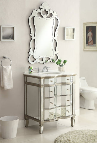 "30"" Mirror Reflection Asselin Bathroom Sink Vanity & Mirror Set  K2274-30/2034 - Chans Furniture - 1"