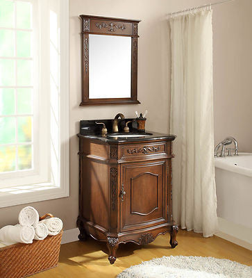 "24"" Classic Petite Powder Room Debellis Bathroom Sink Vanity & Mirror Set Model #  BWV-047GT-MIR - Chans Furniture - 3"