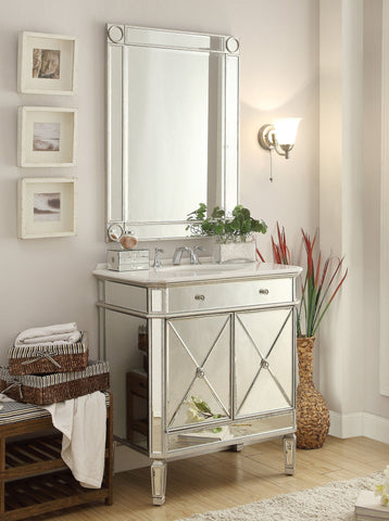 "32"" Mirror Reflection Austell Bathroom Sink Vanity & Mirror Set   MF1-5105SC/1002SC (Silver) - Chans Furniture - 1"