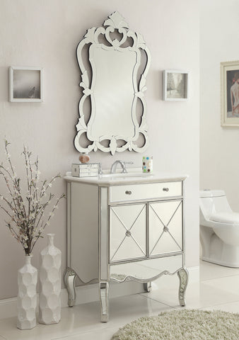 "30"" Mirror reflection Adelisa Bathroom Sink Vanity & Mirror Set    5106SL/MR-2034 - Chans Furniture - 1"