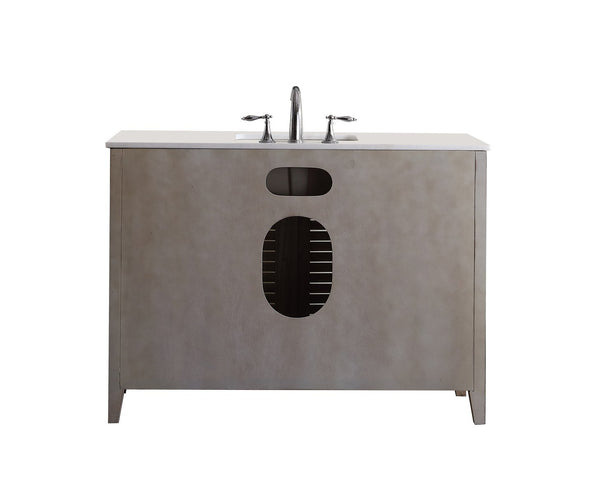 "46"" Distress Beige Abbeville Bathroom Sink Vanity w/matching mirror CF-28325W-MIR - Chans Furniture - 6"