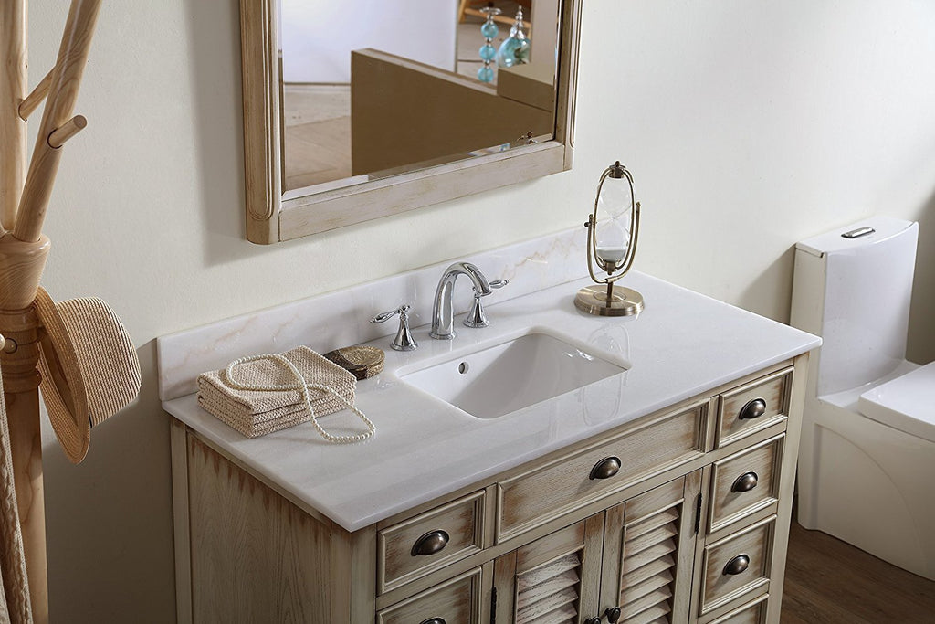 "46"" Distress Beige Abbeville Bathroom Sink Vanity w/matching mirror CF-28325W-MIR - Chans Furniture - 5"