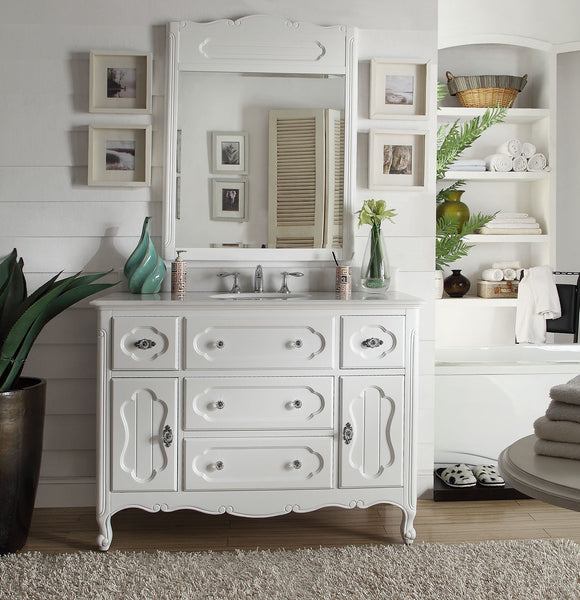 "48"" Victorian Cottage Style Knoxville Bathroom sink vanity Model GD-1522W-48BS-MIR - Chans Furniture - 2"
