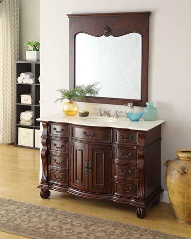 "50"" Old World Hopkinton Bathroom Sink Vanity Cabinet & Mirror  # GD-4437M-50MIR - Chans Furniture - 1"