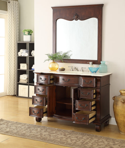 "50"" Old World Hopkinton Bathroom Sink Vanity Cabinet & Mirror  # GD-4437M-50MIR - Chans Furniture - 2"