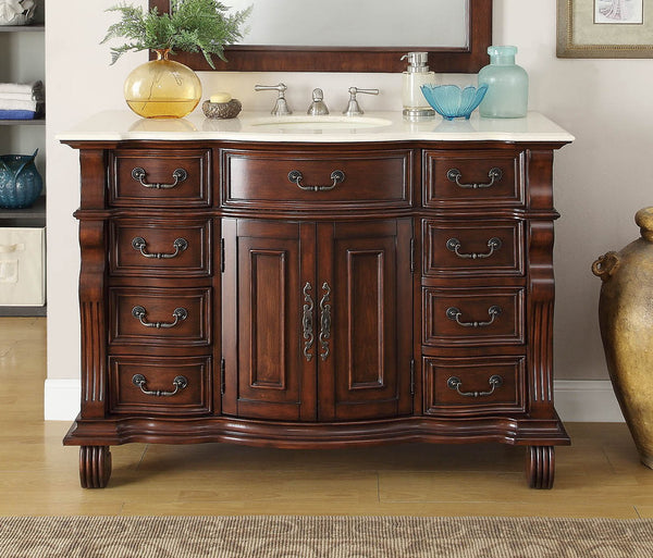 "50"" Old World Hopkinton Bathroom Sink Vanity Cabinet & Mirror  # GD-4437M-50MIR - Chans Furniture - 4"