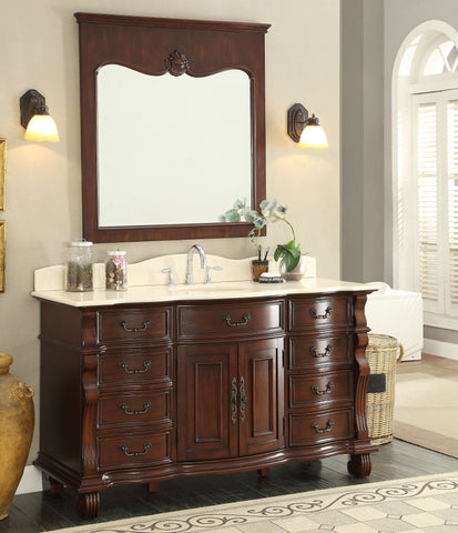 "60"" Old World Cream Marble Hopkinton Bathroom Sink Vanity Cabinet & Mirror CF-4437M-60MIR - Chans Furniture - 1"
