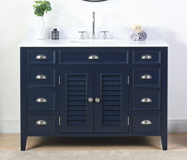 "46.5"" Benton Collection Navy Blue Zapate Bathroom Sink Vanity NB-4485"