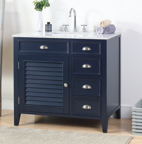 "36"" Benton Collection Zapata Navy Blue Shutter Blind Bathroom Vanity NB-6685-36"
