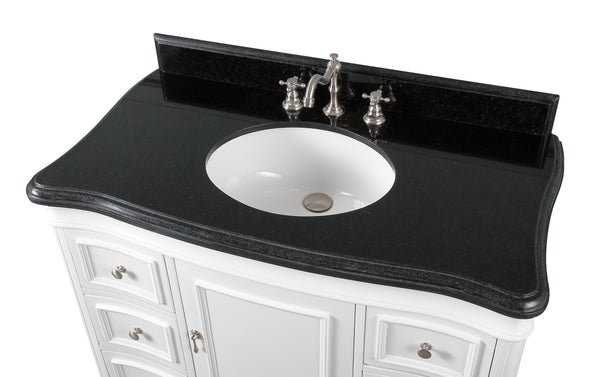 "42"" Benton Collection Sesto White Bathroom Vanity - Q1044W-GT"