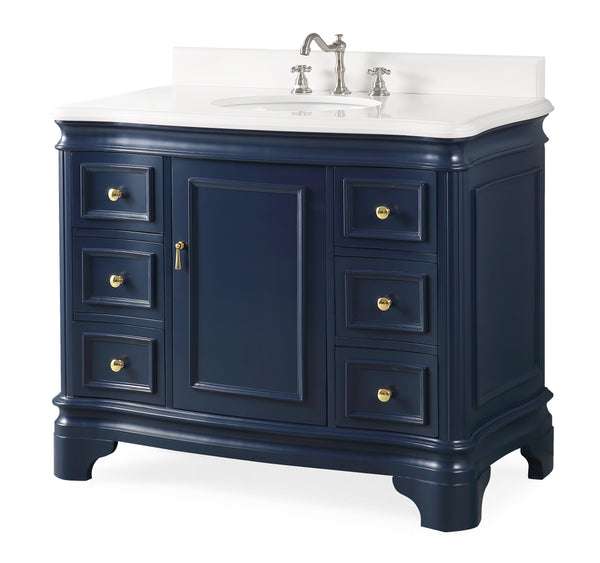 "42"" Benton Collection Sesto Navy Blue Bathroom Vanity - 1044NB-QT"