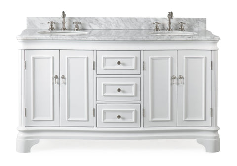 "60"" Benton Collection Double Sink Sesto White Bathroom Vanity - 2077W-RA"