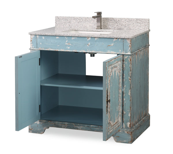 "36"" Benton Collection Litchfield Distressed Rustic Light Blue Beach Style Bathroom Vanity RX-2211"