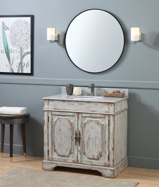"36"" Benton Collection Litchfield Distressed Off White Rustic Style Bathroom Vanity RX-2215"