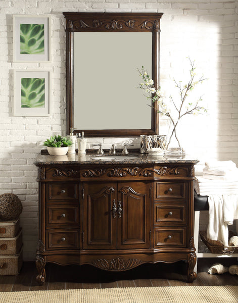 "48"" Baltic Brown Granite counter top Beckham Bathroom Sink Vanity & Mirror Set  SW-3882SB-TK-48/MR-3882 - Chans Furniture - 2"