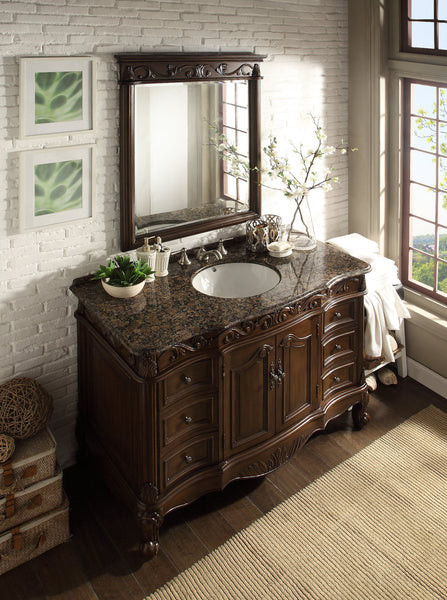"48"" Baltic Brown Granite counter top Beckham Bathroom Sink Vanity & Mirror Set  SW-3882SB-TK-48/MR-3882 - Chans Furniture - 4"