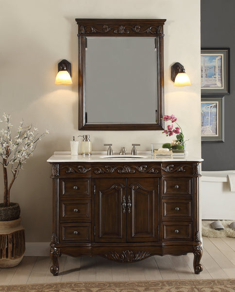 "48"" Classic Design White Marble Beckham Bathroom Sink Vanity & Mirror Set  SW-3882W-TK-48/MR-3882 - Chans Furniture - 2"